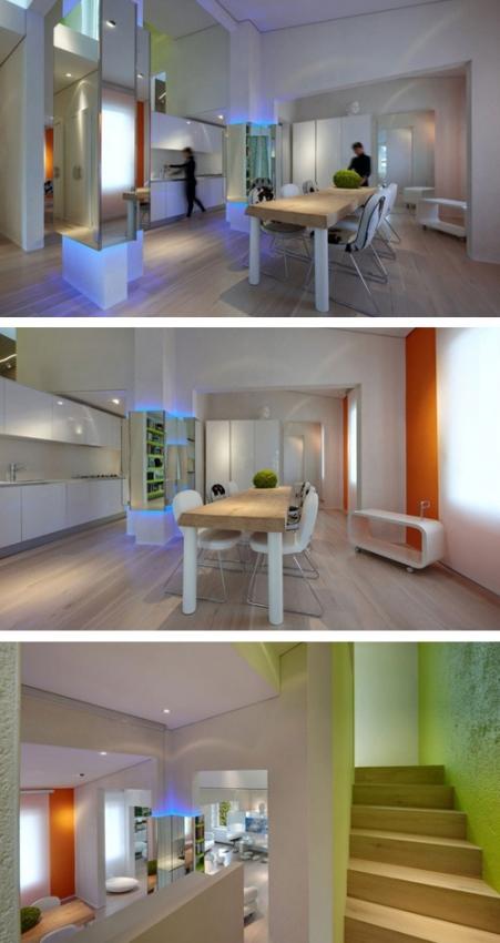 дизайнерская мебель и подсветка в оригинальном интерьере