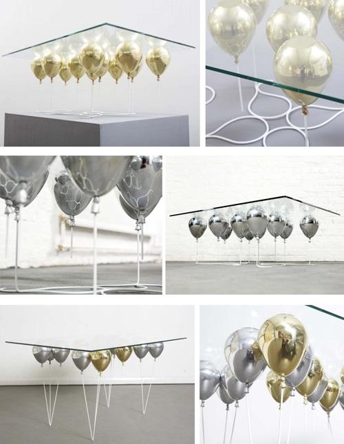 парящие столы с золотистыми и серебристыми шарами