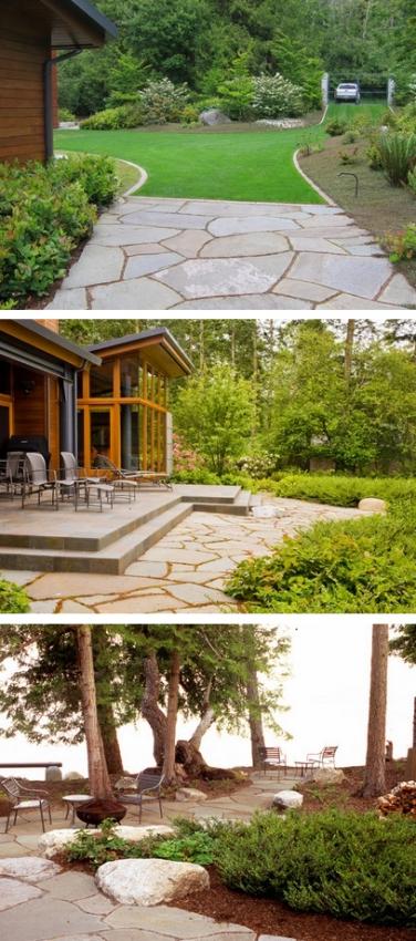 современный внутренний двор с традиционными элементами дизайна