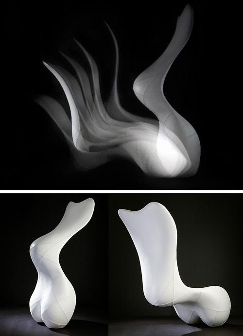 эффект левитации скульптурного лежака