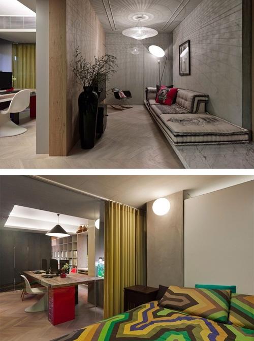 офис и жилое пространство в одном интерьере