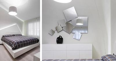 световой и зеркальный декор в интерьере спальни