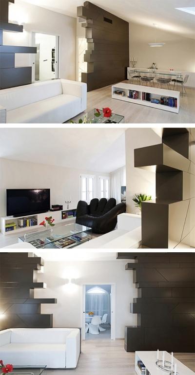 современная гостиная в черно-белой гамме