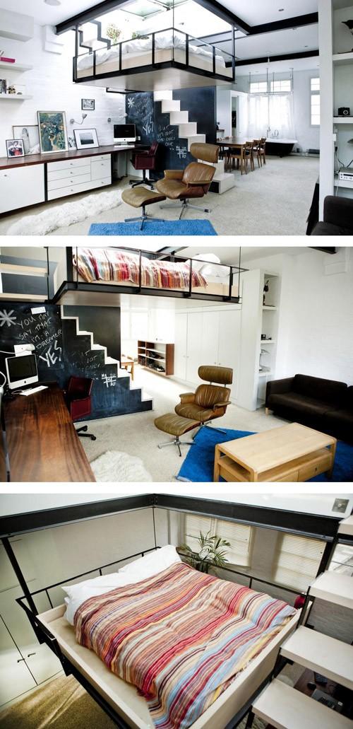 подвесная кровать в интерьере студии