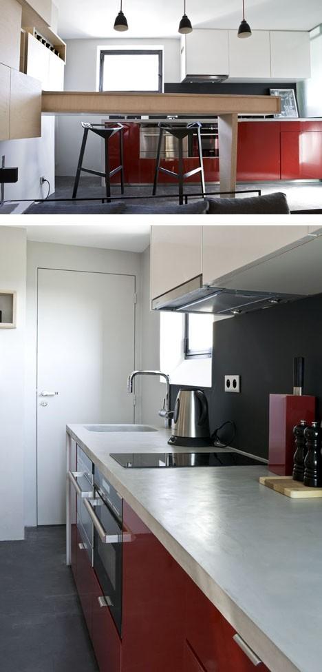 открытая кухня с барной стойкой