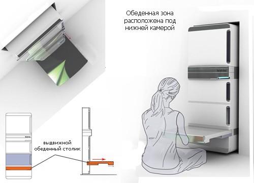 функциональный холодильник с выдвижным столом