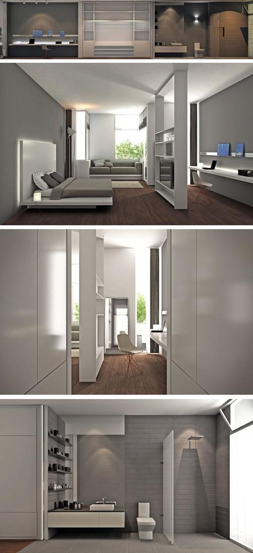 открытая спальня с кабинетом и ванной