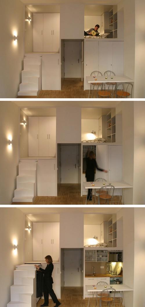 двухуровневое обустройство маленькой квартиры