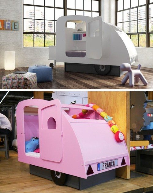 дизайн детских кроватей в виде трейлера