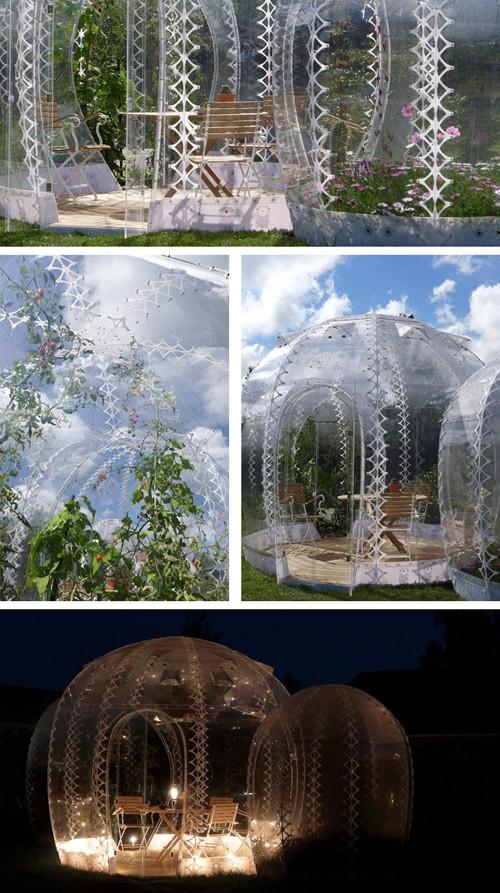 дизайн прозрачного садового домика из поликарбоната