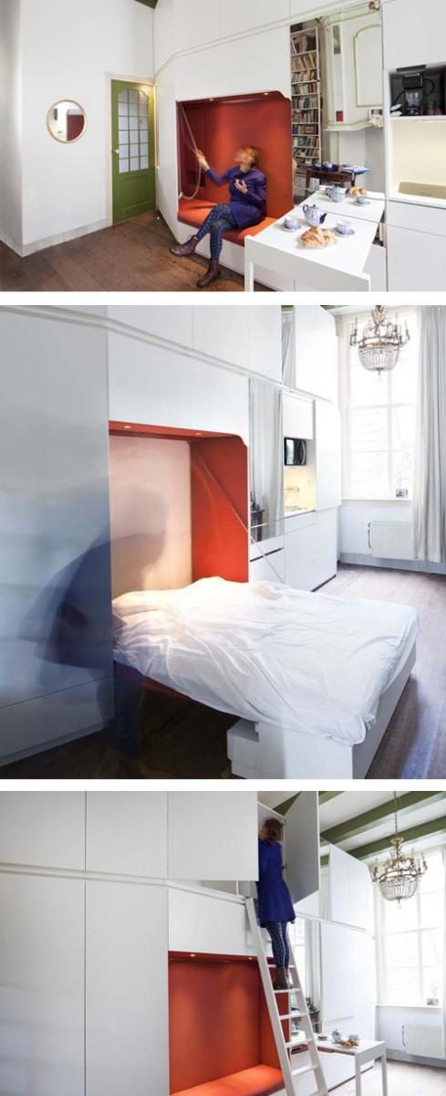 дизайн секций встроенной мебели для маленькой квартиры