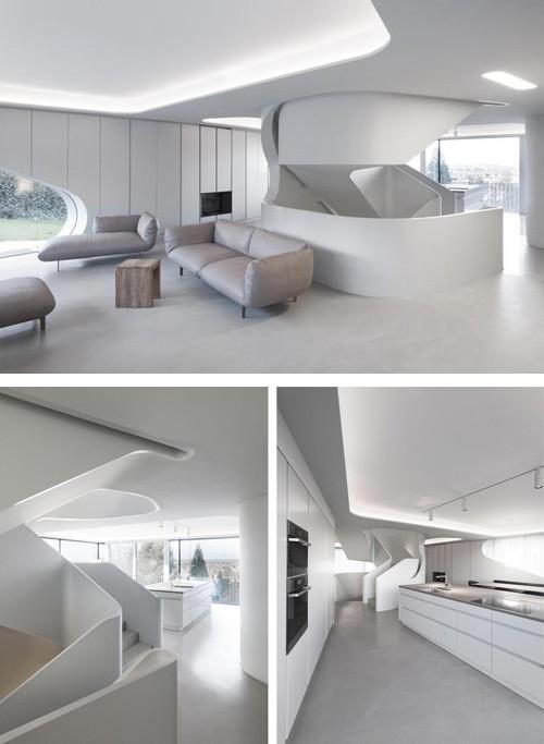 интерьер современного бетонного дома