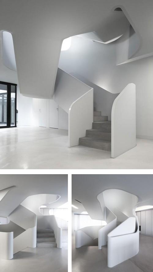скульптурная спиральная лестница в частном доме
