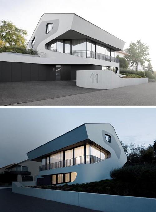 дом из железобетона с алюминиевым фасадом