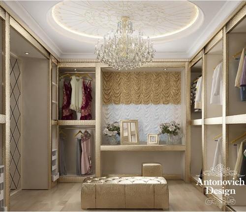 элитный дизайн гардеробной в классическом стиле