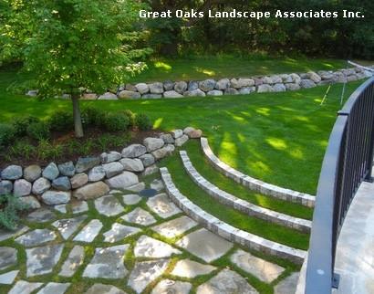 лестница с травяными ступенями на заднем дворе дома