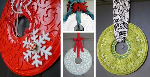 рождественские венки из потолочных медальонов для люстр