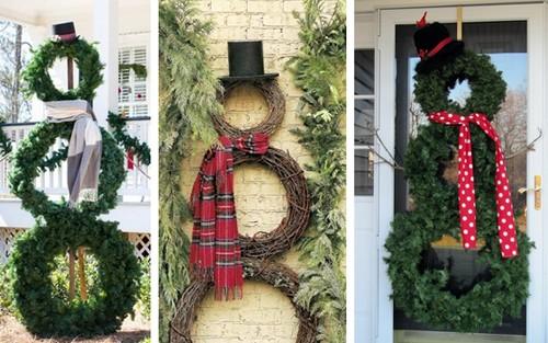 как сделать снеговиков из рождественских венков