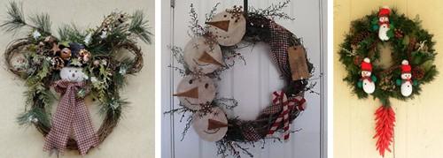 рождественские венки со снеговиками