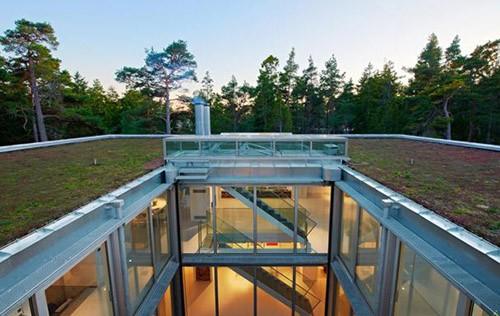 зеленая крыша и внутренний атриум дома