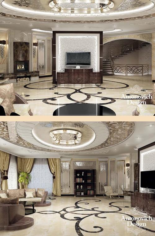 современные элементы стиля модерн в интерьере гостиной