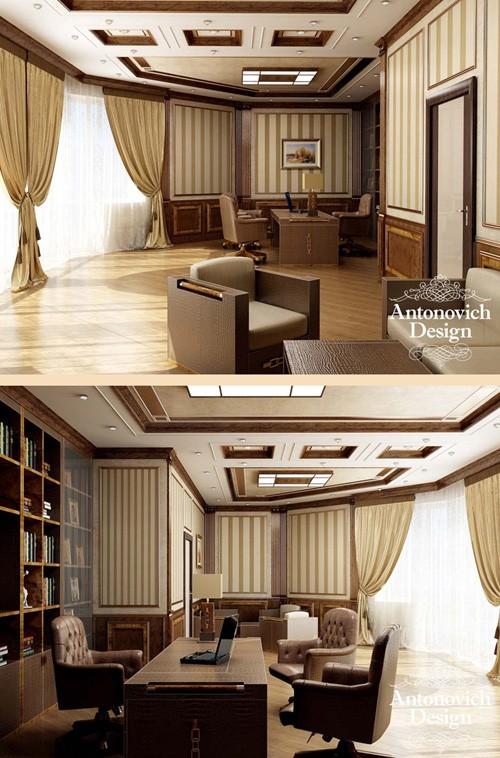 интерьер кабинета с полосатыми текстильными обоями