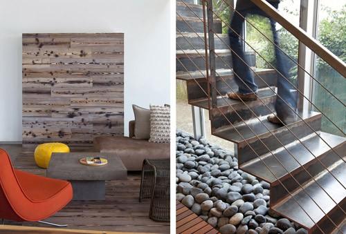 камни и термообработанная древесина в современном интерьере
