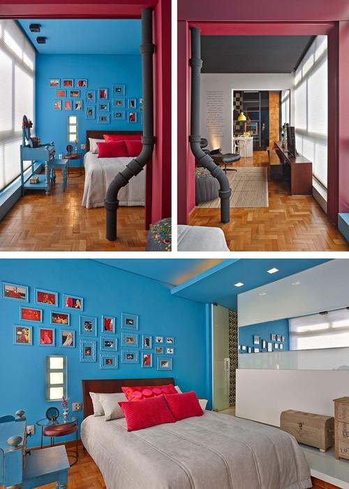 голубая спальня с ярким декором