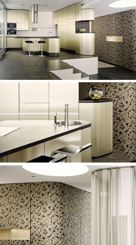 встроенная кухня и шкафы с плавными фасадами