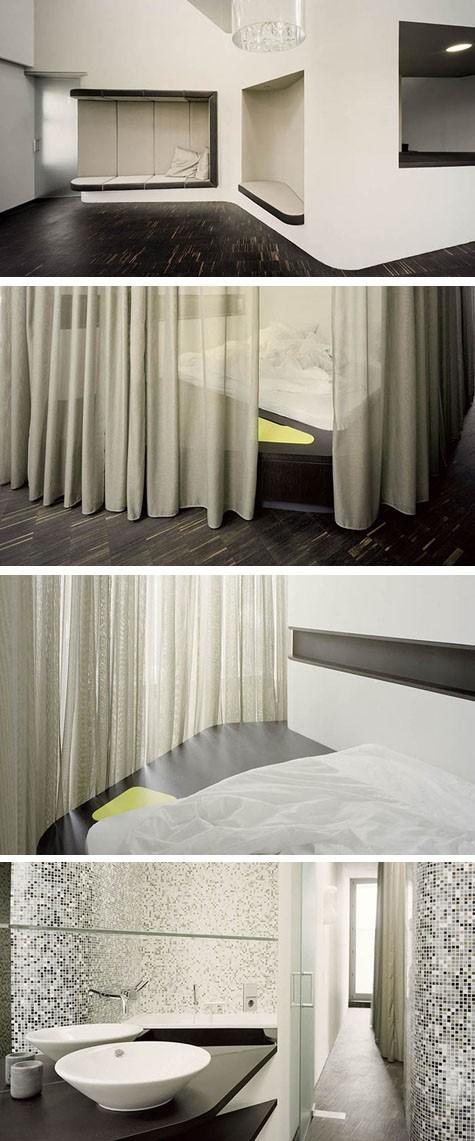 встроенная кровать и лежаки ультрасовременного стиля