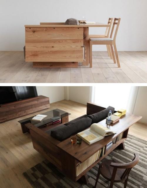 функциональный диван со столом и полками