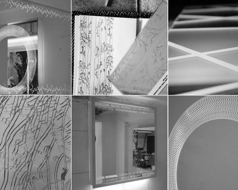 подсвеченные светодиодами изображения на поверхности зеркал