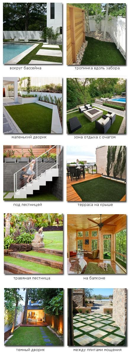 варианты использования искусственных газонов в ландшафтном дизайне