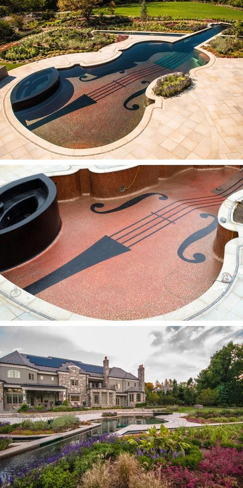 оригинальный бассейн в ландшафтном дизайне двора