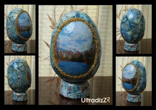 готовое пасхальное яйцо с пейзажным фрагментом