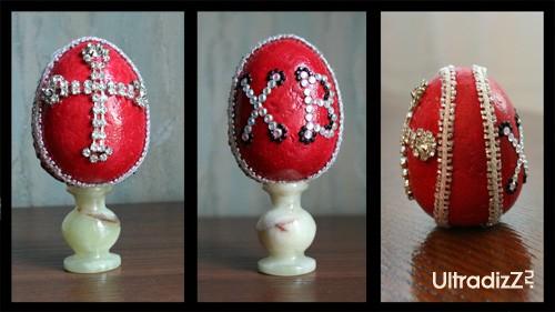 декорирование пасхального яйца стразами