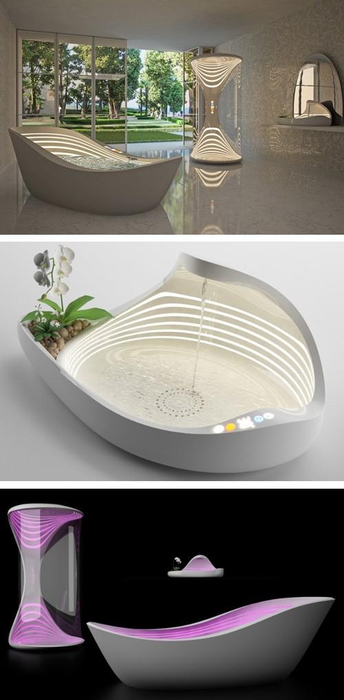 ванна, душ и раковина со встроенной подсветкой