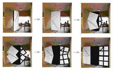 оригинальная трехстворчатая дверь-экран