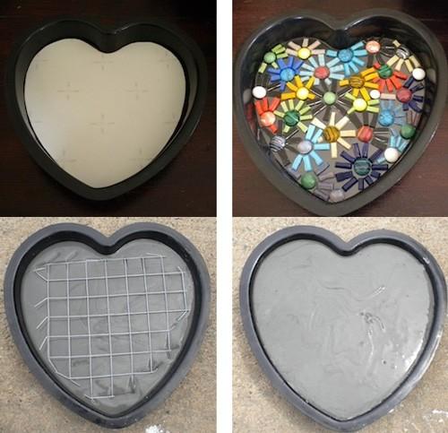 изготовление мозаичных плиток в силиконовой форме