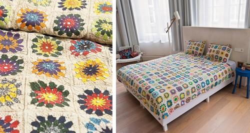 постельный комплект с имитацией ручного вязания