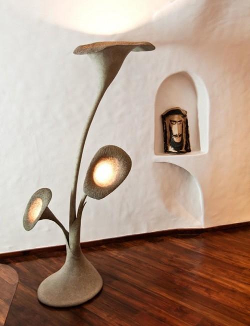 дизайнерский напольный светильник из папье-маше
