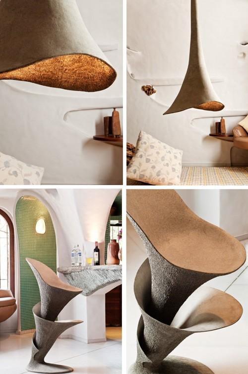 потолочный светильник и мебель органической формы
