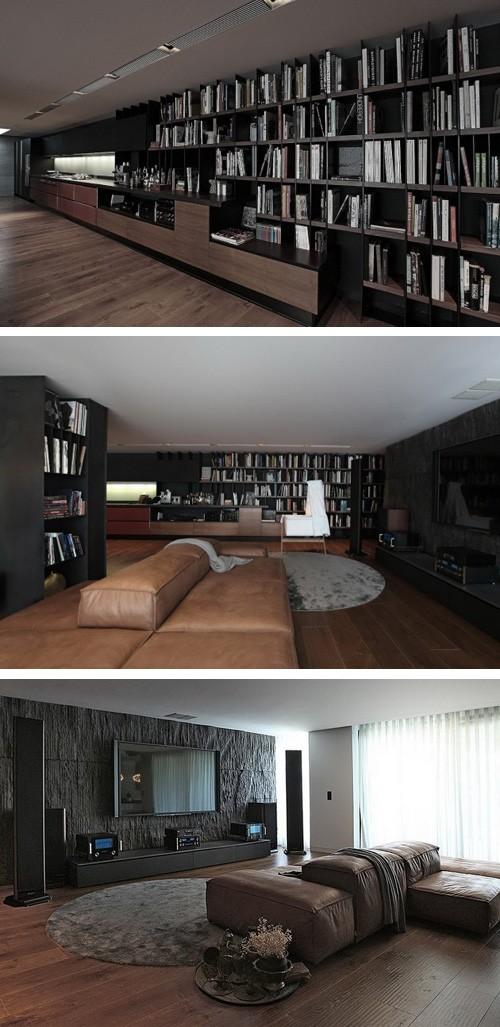 открытый интерьер с кухней, зоной отдыха и библиотекой