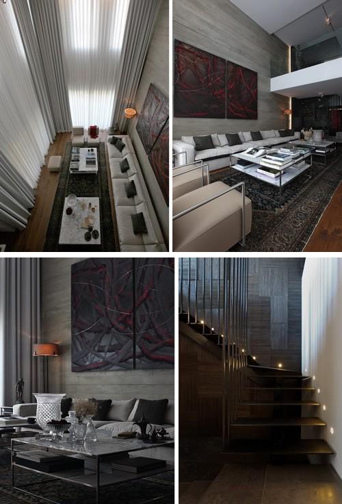 гостевая зона в двухуровневой квартире