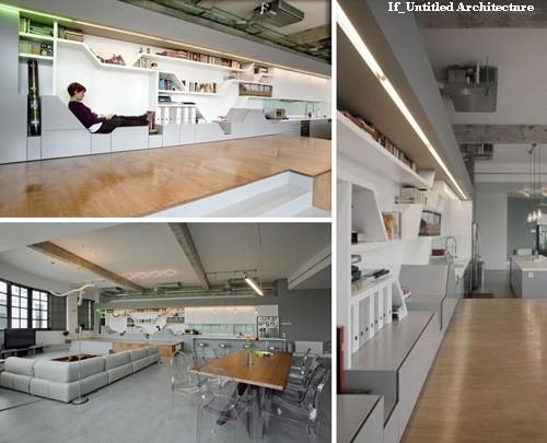 интегрированная домашняя библиотека с встроенным местом для чтения