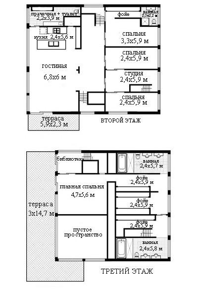 планировка второго т третьего этажа