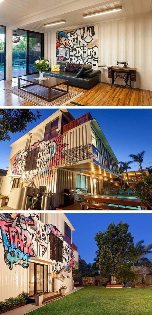 граффити на фасаде и в интерьере дома