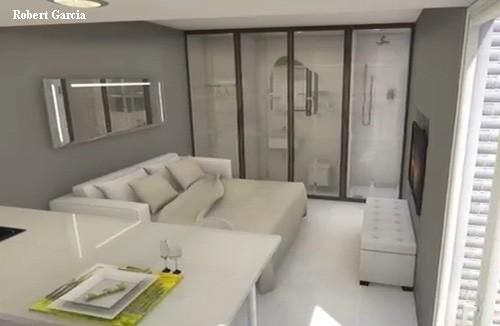 ванная со стеклянной перегородкой в однокомнатной квартире