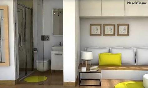 прозрачная ванная комната в студии