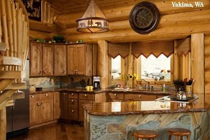 каменные столешнице на кухне стиля шале